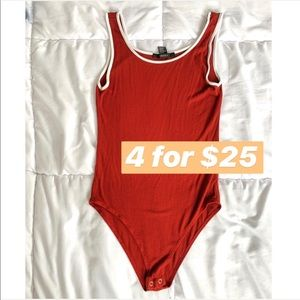 Forever 21 Dark Red Tank Bodysuit with white trim
